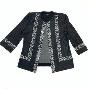 MISOOK | Leopard Print Trim Grey Blazer Size S